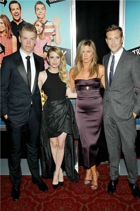 "<div class=""meta image-caption""><div class=""origin-logo origin-image ""><span></span></div><span class=""caption-text"">Will Poulter, Emma Roberts, Jennifer Aniston and Jason Sudeikis appear at the premiere of 'We're the Millers' in New York City on Aug. 1, 2013. (Marion Curtis/Startraksphoto.com)</span></div>"