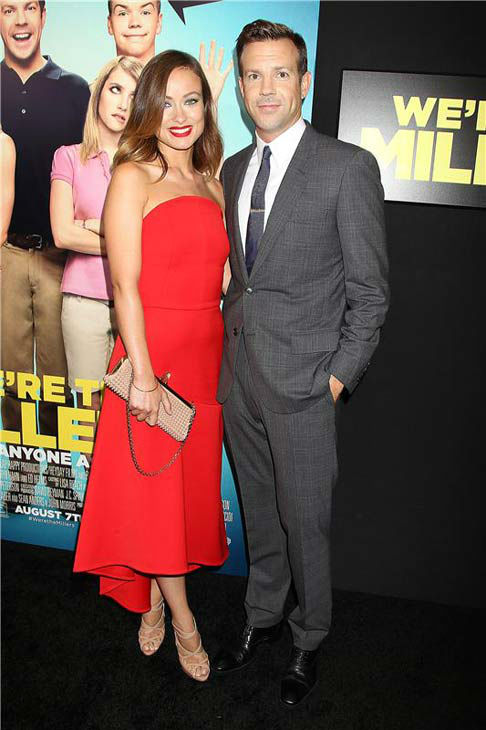 Olivia Wilde and Jason Sudeikis appear at the premiere of 'We're the Millers' in New York City on Aug. 1, 2013.