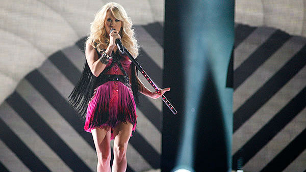 Carrie Underwood performing at The 47th Annual Academy of Country Music Awards in Las Vegas, Nevada on April 1, 2013.