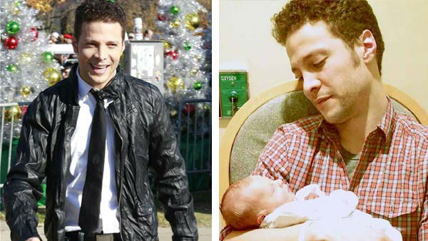Justin Guarini appears at the 2012 Philadelphia Thanksgiving Day Parade (left) and holding his son, Asher, who was born on Feb. 25, 2013 (right).