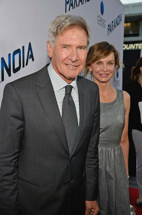 Actors Harrison Ford and Calista Flockhart attend the premiere of 'Paranoia' at DGA Theater on Aug. 8, 2013 in Los Angeles, California.