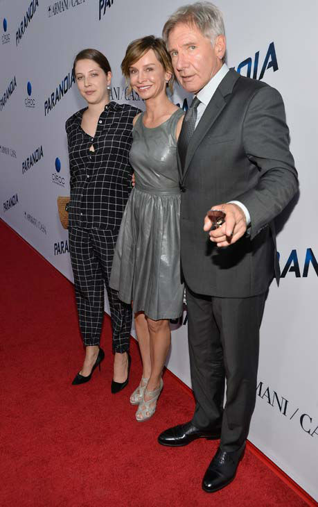 Georgia Ford, Harrison Ford and Calista Flockhart attend the premiere of 'Paranoia' at DGA Theater on Aug. 8, 2013 in Los Angeles, California.