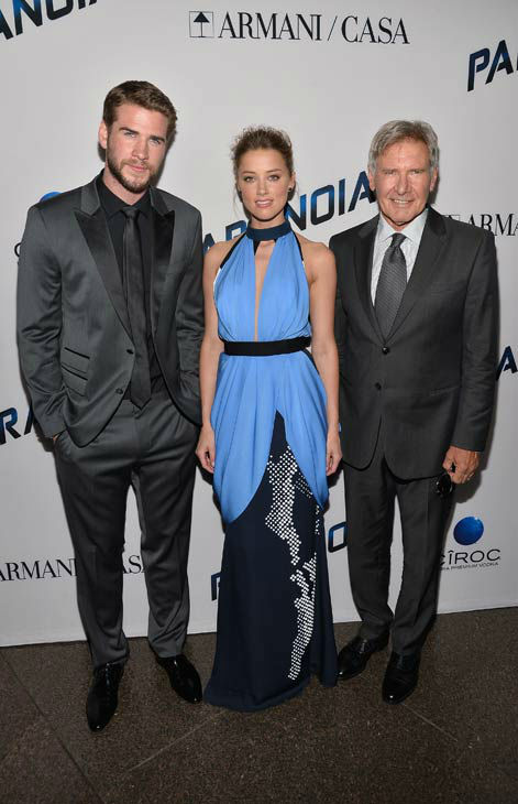 Liam Hemsworth, Amber Heard and Harrison Ford attend the premiere of 'Paranoia' at DGA Theater on Aug. 8, 2013 in Los Angeles, California.