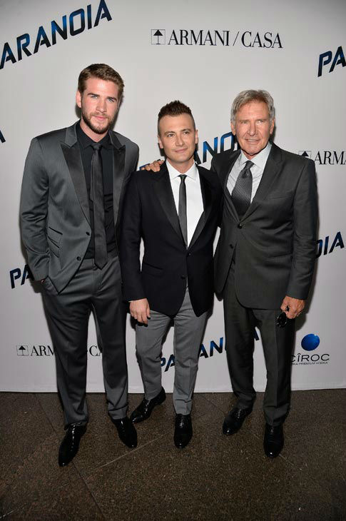 "<div class=""meta image-caption""><div class=""origin-logo origin-image ""><span></span></div><span class=""caption-text"">Actor Liam Hemsworth, director Robert Luketic and actor Harrison Ford attend the premiere of 'Paranoia' at DGA Theater on Aug. 8, 2013 in Los Angeles, California. (Frazer Harrison/Getty Images for Relativity Media)</span></div>"