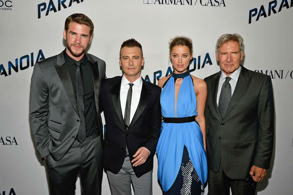 "<div class=""meta ""><span class=""caption-text "">Liam Hemsworth, director Robert Luketic, actress Amber Heard and actor Harrison Ford attend the premiere of 'Paranoia' at DGA Theater on Aug. 8, 2013 in Los Angeles, California. (Frazer Harrison/Getty Images for Relativity Media)</span></div>"