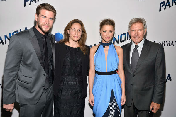 Liam Hemsworth, producer Alexandra Milchan, actress Amber Heard and actor Harrison Ford attend the premiere of 'Paranoia' at DGA Theater on Aug. 8, 2013 in Los Angeles, California.