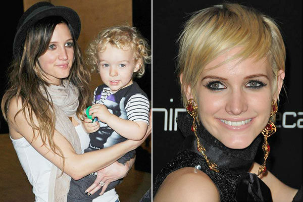 Left: Ashlee Simpson appears with her son, Bronx, on Sept. 9, 2010. / Right: Ashlee Simpson appears at the launch of Decades Denim in Beverly Hills, California on Nov.