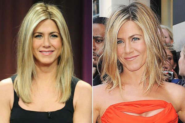 Left: Jennifer Aniston appears on 'Late Night With Jimmy Fallon' on February 10, 2011. / Right: Jennifer Aniston arrives at Sephora store in New York City, New York on May 5, 2011.