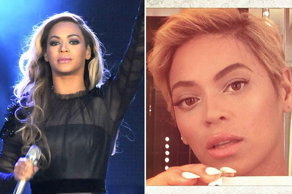 Left: Beyonce appears at the 2013 Chime For Change: The Sound Of Change Live Concert at Twickenham Stadium in London on June 6, 2013. &#47; Right: Beyonce debuted a new pixie cut on her Instagram page on Aug. 7, 2013. <span class=meta>(Angela Lubrano&#47;Livepix&#47;Dalle&#47;startraksphoto.com &#47; Instagram.com&#47;Beyonce)</span>