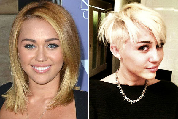 Left: Miley Cyrus appears at Australians in Film 8th Annual Breakthrough Awards on June 27, 2012. &#47; Right: Miley Cyrus appears in a Twitter photo posted by her hair stylist, Chris McMillan, on Aug. 12, 2013. <span class=meta>(Tony DiMaio&#47;startraksphoto.com &#47; Twitter.com&#47;ChrisMcMillan)</span>