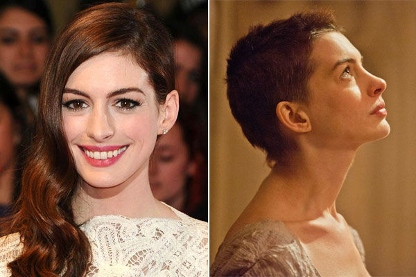 Left: Anne Hathaway appears at the &#39;One Day&#39; UK Premiere on Aug. 23, 2011. &#47; Right: Anne Hathaway appears in a scene from the 2012 film &#39;Les Miserables.&#39; Hathaway cut her hair on film for her role as Fatine. <span class=meta>(Nick Sadler&#47;startraksphoto.com &#47; Universal Pictures)</span>