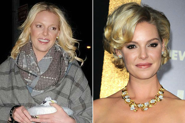 Left: Katherine Heigl goes to a nail salon in New York City, New York on Feb. 11, 2011. / Right: Katheri