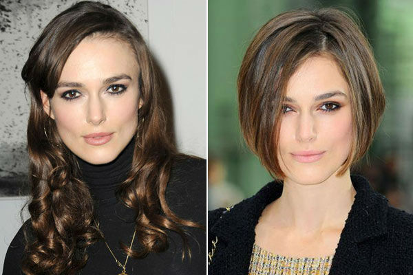 Left: Keira Knightley appears at 'The Little Dog Laughed' play after party at the Trafalgar Hotel in London, Britain on January 20, 2010. / Right: Keira Knightley appears at Paris Fashion Week o