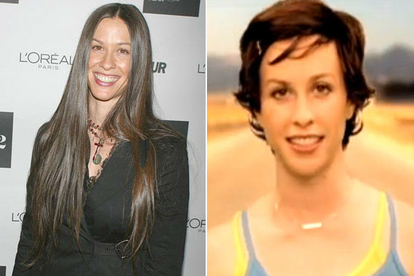Left: Alanis Morissette appears at Glamour Magazine to salute the 2002 'Women Of The Year' at The Metropolitan Museum of Art on Oct. 28, 2002. / Right: Alanis Morissette appears in the March 2004 video for 'Everything.'