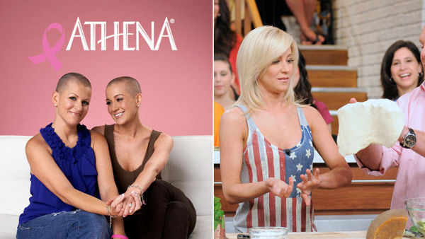 Left: Kellie Pickler appears with friend Summer Miller after getting her head shaved on Sept. 4, 2012. / Right: Pickler appears on 'The Chew' on August 9, 2012.