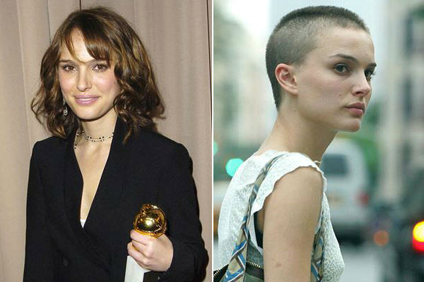 "<div class=""meta image-caption""><div class=""origin-logo origin-image ""><span></span></div><span class=""caption-text"">Left: Natalie Portman appears at the 2005 Golden Globes Awards MIRAMAX after party. / Right: Natalie Portman out on in New York City on June 30, 2005.  Portman cut her hair for her role in the 2005 film 'V for Vendetta.' (Michael Germana / Alan David/startraksphoto.com)</span></div>"