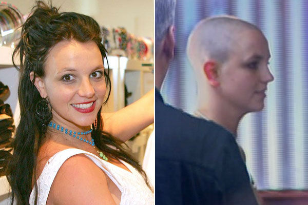 Left: Britney Spears ends her day by shopping in Los Angeles on Aug. 18, 2006. / Right: Britney Spears appears with a shaved head in February 2007.