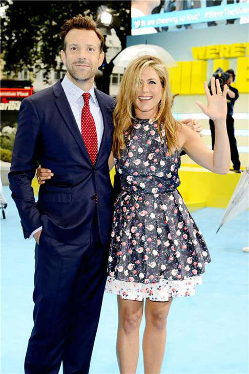 Jennifer Aniston and Jason Sudeikis appear at the London premiere of 'We're the Millers' on Aug. 14, 2013.