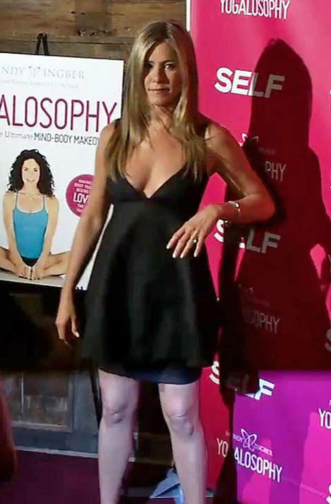 Jennifer Aniston appears at an event promoting her longtime friend and yoga instructor Mandy Ingber&#39;s new book, &#39;Yogalosophy: 28 Days to the Ultimate Mind-Body Makeover,&#39; on April 30, 2013 at the Soho House in West Hollywood, California. <span class=meta>(OTRC)</span>