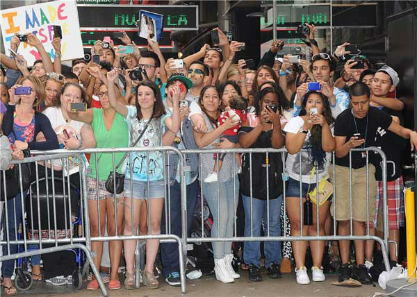 Lady Gaga fans appear outside the 'Good Morning America' studios on Aug. 19, 2013.