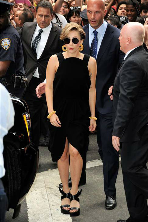 Lady Gaga appears outside the 'Good Morning America' studios on Aug. 19, 2013.