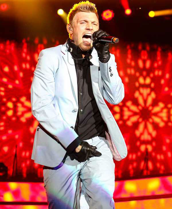 Nick Carter performs with the Backstreet Boys on their 'In a World Like This Tour' in Raleigh, North Carolina.