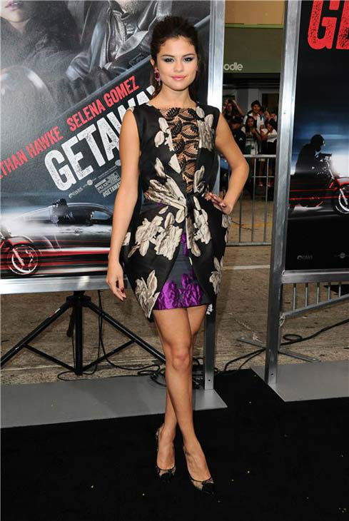 Selena Gomez appears at the premiere of her new action film 'Getaway' at the Regency Village Theater in Westwood, California on Aug. 26, 2013.