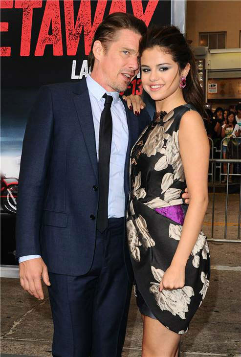 Ethan Hawke and Selena Gomez appear at the premiere of their new action film 'Getaway' at the Regency Village Theater in Westwood, California on Aug. 26, 2013.