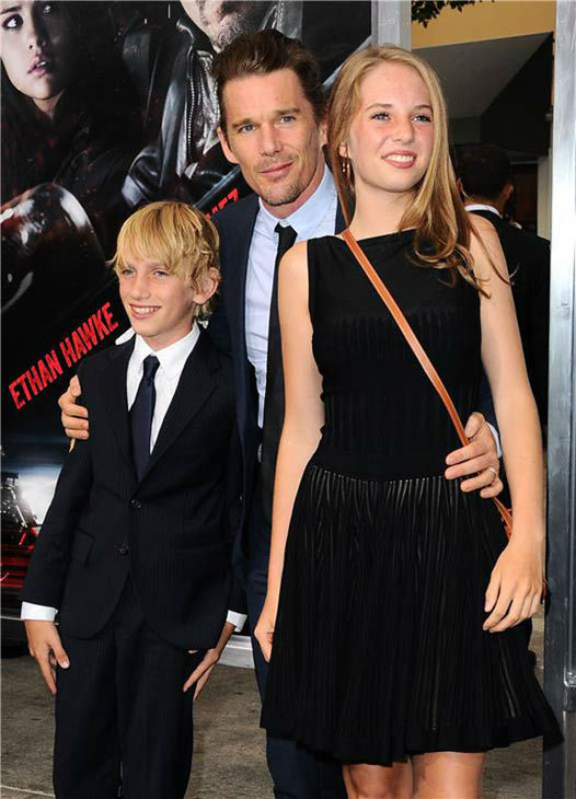 Ethan Hawke appears with his daughter Maya and son Levon Roan Thurman-Hawke at the premiere of his new action film 'Getaway' at the Regency Village Theater in Westwood, California on Aug. 26, 2013.