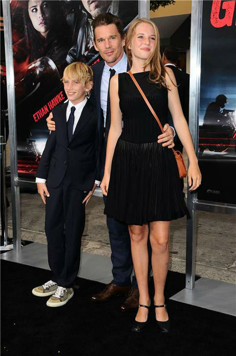 Ethan Hawke appears with his daughter Maya and son Levon Roan Thurman-Hawke at the premiere of his new action film &#39;Getaway&#39; at the Regency Village Theater in Westwood, California on Aug. 26, 2013. <span class=meta>(Sara De Boer &#47; startraksphoto.com)</span>