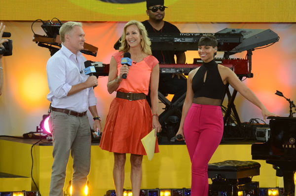 "<div class=""meta image-caption""><div class=""origin-logo origin-image ""><span></span></div><span class=""caption-text"">Alicia Keys talks to 'Good Morning America' co-hosts Lara Spencer and Sam Champion after performing live from New York City's Central Park on Aug. 30, 2013. (ABC Photo/ Ida Mae Astute)</span></div>"