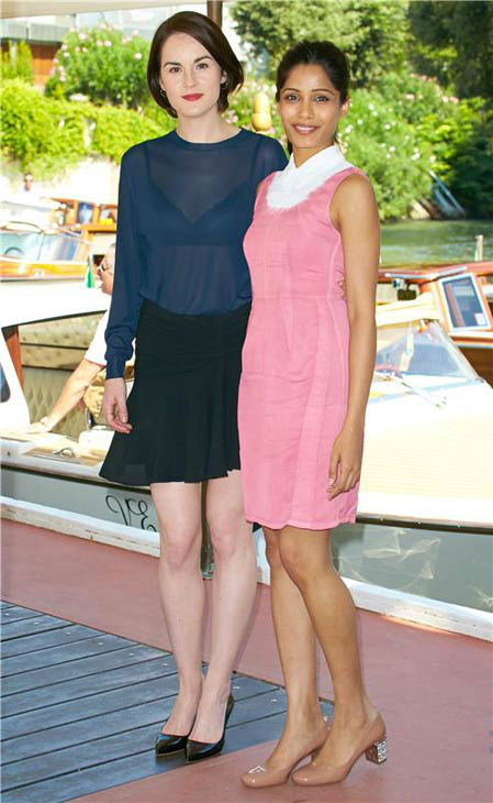 Michelle Dockery and Frida Pinto appear at the photocall of Miu Miu &#39;Women&#39;s Tale&#39; during the 70th Venice Film Festival on Aug. 31, 2013. <span class=meta>(Action Press&#47;startraksphoto.com)</span>