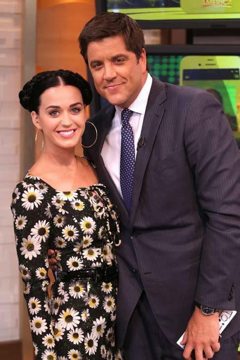 Katy Perry appears with &#39;Good Morning America&#39; co-host Josh Elliott on Sep.  6, 2013. <span class=meta>(ABC Photo&#47; Fred Lee)</span>