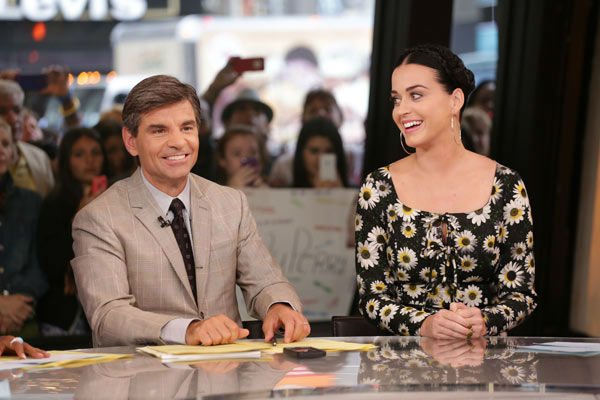 Katy Perry appears with &#39;Good Morning America&#39; co-host George Stephanopoulos on Sep.  6, 2013. <span class=meta>(ABC Photo&#47; Fred Lee)</span>