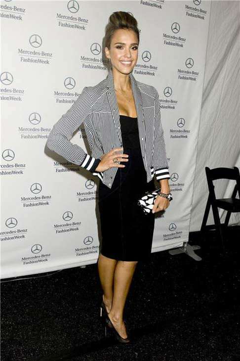 Jessica Alba appears at the Diane Von Furstenberg Show during Spring 2014 Mercedes-Benz Fashion Week at Lincoln Center on Sept. 8, 2013.