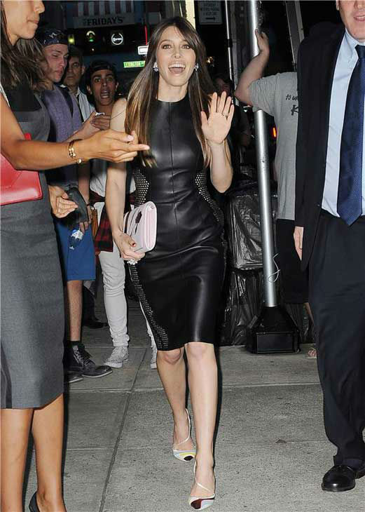 Jessica Biel appears during Mercedes-Benz Fashion Week on Sept. 7, 2013.