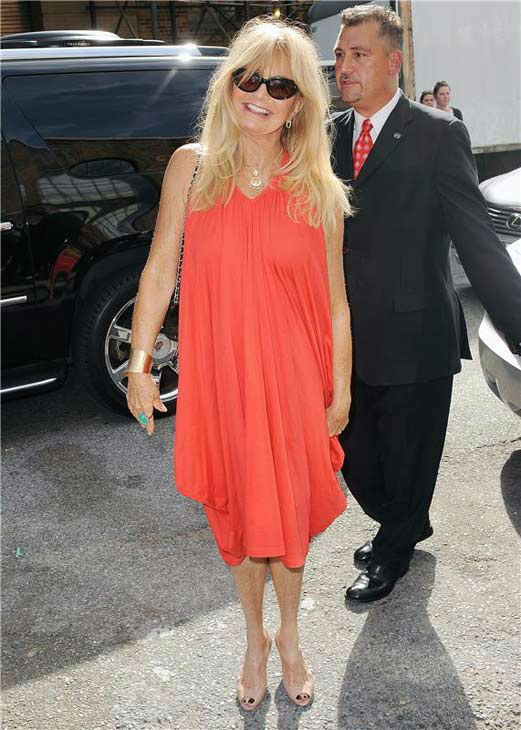 Goldie Hawn appears during spring 2014 Mercedes-Benz Fashion Week on Sept. 9, 2013.