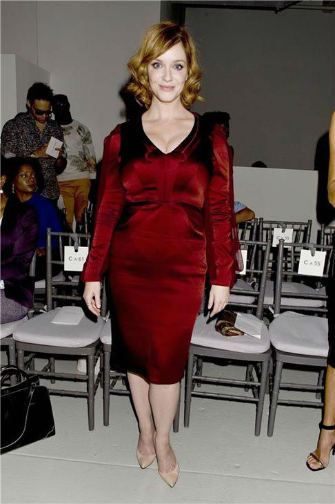 Christina Hendricks appears at the Zac Posen show during spring 2014 Mercedes-Benz Fashion Week at Center 548 on Sept. 8, 2013. <span class=meta>(JUSTIN CAMPBELL&#47;startraksphoto.com)</span>