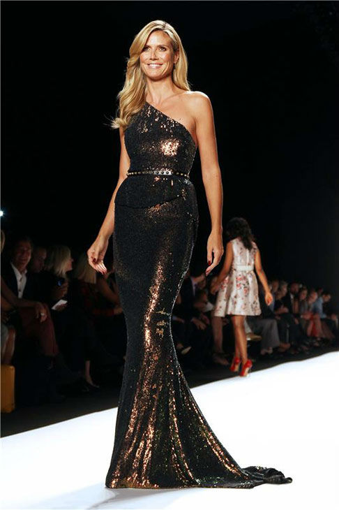 Heidi Klum appears at the 'Project Runway' Show during spring 2014 Mercedes-Benz Fashion Week on Sept. 6, 2013.