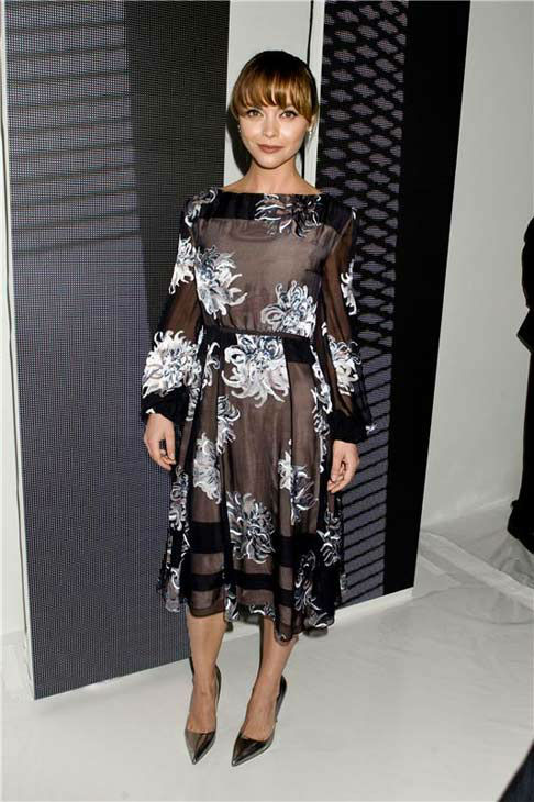 Christina Ricci appears at the Carolina Herrera show during Spring 2014 Mercedes-Benz Fashion Week on Sept. 9, 2013.