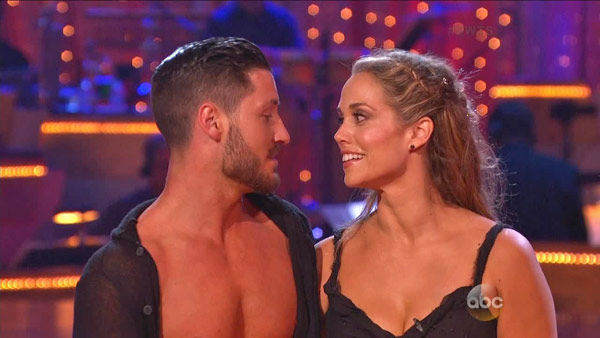 Elizabeth Berkley and Val Chmerkovskiy appear in a still from 'Dancing With The Stars: All-Stars' on Sept. 16, 2012.