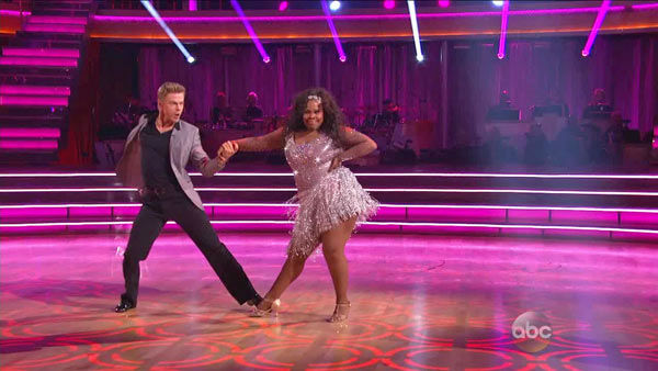 Amber Riley and Derek Hough dance the Cha Cha Cha on week one of &#39;Dancing With The Stars&#39; on Sept. 16, 2013. They received 27 out of 30 points from the judges. <span class=meta>(ABC Photo)</span>