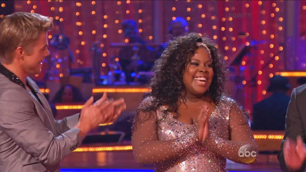 Amber Riley and Derek Hough appear in a still from 'Dancing With The Stars: All-Stars' on Sept. 16, 2012.