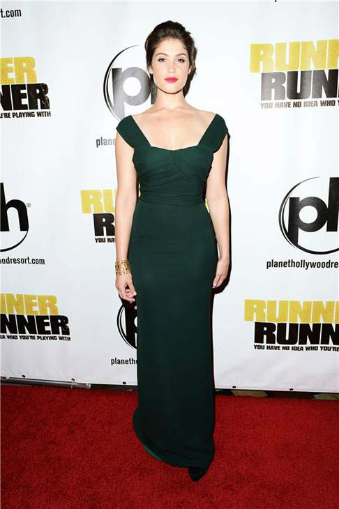 Gemma Arterton appears at the premiere of 'Runner, Runner' at the Planet Hollywood Resort and Casino in Las Vegas, Nevada on Sept. 18, 2013.