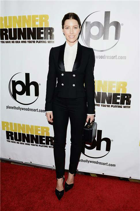 "<div class=""meta image-caption""><div class=""origin-logo origin-image ""><span></span></div><span class=""caption-text"">Jessica Biel appears at the premiere of 'Runner, Runner' at the Planet Hollywood Resort and Casino in Las Vegas, Nevada on Sept. 18, 2013. (Dave Proctor / startraksphoto.com)</span></div>"