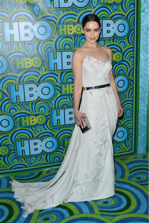 Emilia Clarke &#40;Daenerys Targaryen on &#39;Game Of Thrones&#39;&#41; appears at HBO&#39;s 2014 Emmy Awards after party in Los Angeles on Sept. 22, 2013. She is wearing a Donna Karan Atelier gown.  <span class=meta>(Tony DiMaio &#47; Startraksphoto.com)</span>
