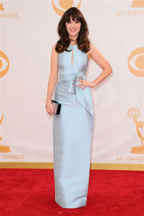 "<div class=""meta image-caption""><div class=""origin-logo origin-image ""><span></span></div><span class=""caption-text"">Zooey Deschanel appears at the 65th annual Primetime Emmy Awards in Los Angeles, California on Sept. 22, 2013. (Kyle Rover / startraksphoto.com)</span></div>"