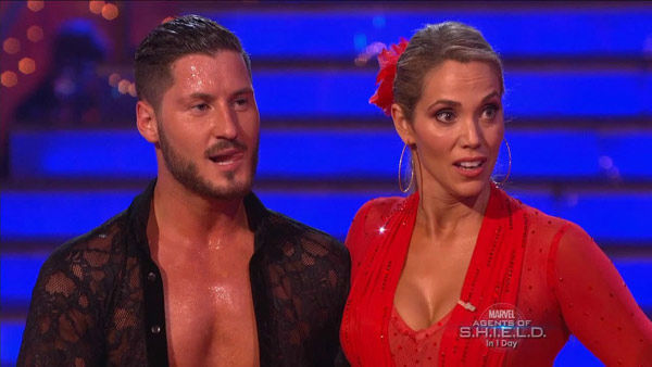 Elizabeth Berkley and Val Chmerkovskiy appear in a still from 'Dancing With The Stars' on Sept. 23, 2013.