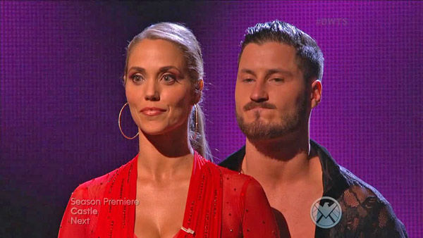 Elizabeth Berkley and Val Chmerkovskiy await their fate on week two of &#39;Dancing With The Stars&#39; on Sept. 23, 2013. They received 25 out of 30 points from the judges for their Samba. <span class=meta>(ABC Photo)</span>