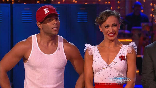 "<div class=""meta ""><span class=""caption-text "">Corbin Bleu and Karina Smirnoff danced the Jive on week two of 'Dancing With The Stars' on Sept. 23, 2013. They received 26 out of 30 points from the judges. (ABC Photo)</span></div>"